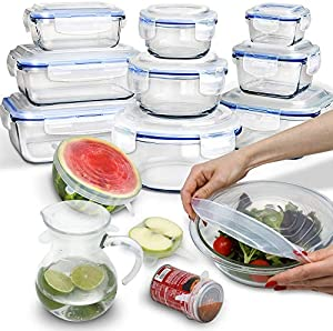 [24 Piece] 9 Glass Food Storage Containers Set with Airtight...