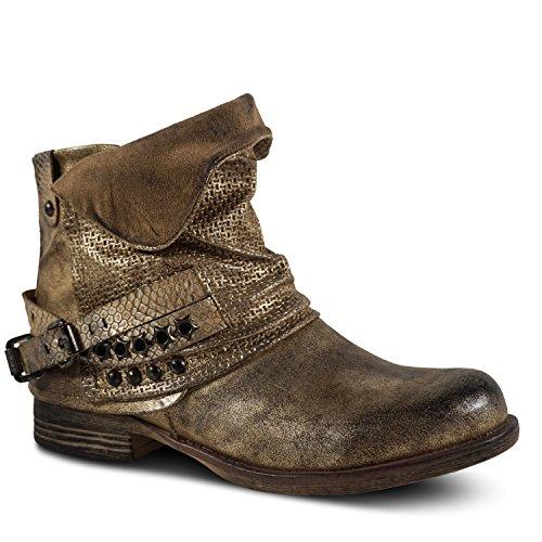 Damen Worker Stiefeletten Boots Biker Outdoor Metallic Nieten Stiefel Herbst ST399 Gold