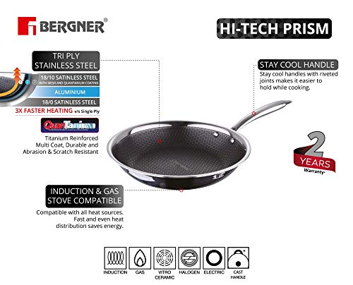 BERGNER-Hitech-Prism-Non-Stick-Stainless-Steel-Frypan-16-cm-Induction-Base-Silver