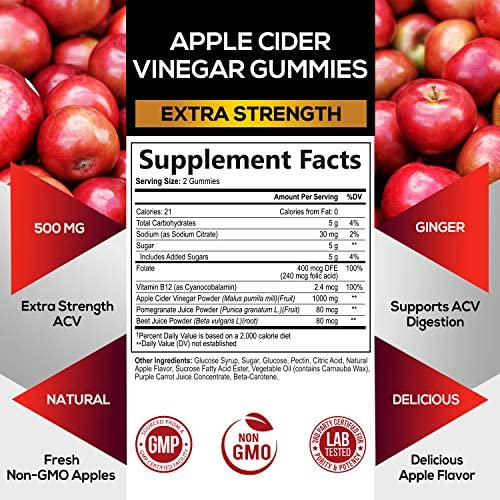 Apple Cider Vinegar Gummies for Natural Weight Support 1000mg - Delicious Acv Gummy Vitamin with The Mother - Cleanse - Folic Acid, B12, Beetroot, Pomegranate, Non-GMO - 60 Gummies 2