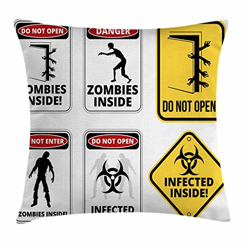 Ambesonne Zombie Throw Pillow Cushion Cover, Warning Signs for Evil Creatures Paranormal Construction Design Do Not Open Artwork, Decorative Square Accent Pillow Case, 26 X 26 Inches, Multicolor by Ambesonne