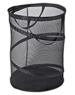 PRO-MART DAZZ Deluxe Large Mesh Spiral Laundry Pop Up Hamper with Handles, Black