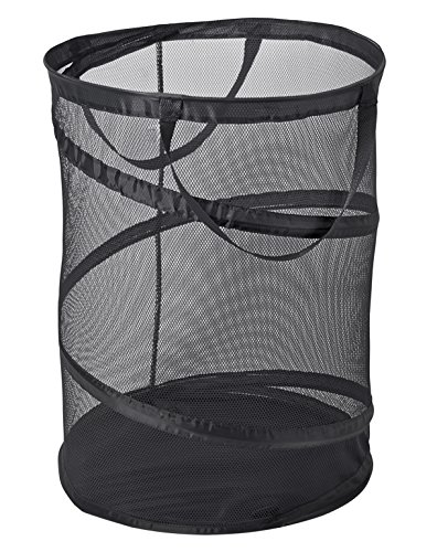 Deluxe Laundry Hamper - PRO-MART DAZZ Deluxe Large Mesh Spiral Laundry Pop Up Hamper with Handles, Black