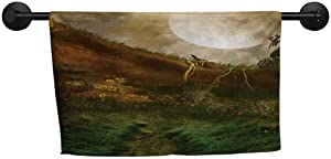 xixiBO Indoor Scarf W 20 x L 20(inch) Hand/Guest Towel,Nature,Exquisite Valley with Giant Full Moon Sky Enchanted Fantasy Scenery,Peach Fern Green Cinnamon