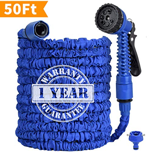 Garden Hose, 50ft Lightweight Expandable Water Hose, 3/4″ Solid Brass Fittings Garden Hose, Flexible Expanding Hose with Extra Strength Fabric Double Latex Core   Rot Crack & Leak Resistant