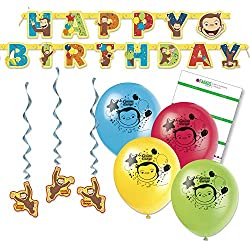FAKKOS Design Curious George Party Decorations - Balloons, Banner, Hanging Decor