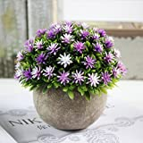 JHion 1 PCS Modern Mini Artificial Plants Fake Green Colorful Flower Decorative for Home Décor Indoor with Gray Paper Pulp Pots