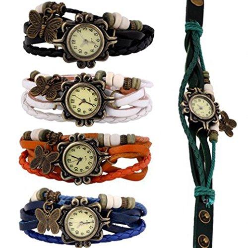 Besde Women Multilayer Bracelets Quartz Weave Leather Bracelet Lady Wrist Watch (5Colors) Crystal Weave Bracelet