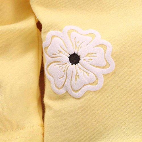 Omiky® Kinder Mädchen Langarm Blume Bogen Shirt Plaid Hose Set Kleidung Gelb
