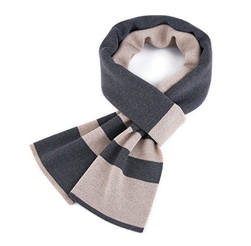 VINMEN Men Scarf Winter Cashmere Warm Stripe Scarves, Luxury Gift