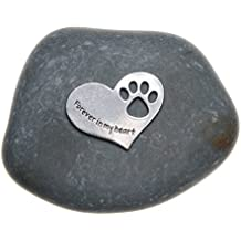 Pet Memorial Gift Forever in My Heart Paw Print Stone for Dogs or Cats - Sympathy Remembrance Gift by Whitney Howard Designs