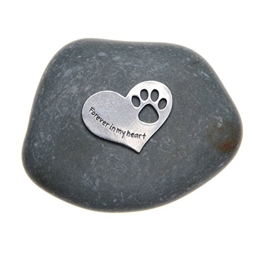 Pet Memorial Gift Forever in My Heart Paw Print Stone for Dogs or Cats - Sympathy Remembrance Gift by Whitney Howard Designs (Gifts Garden Unique)