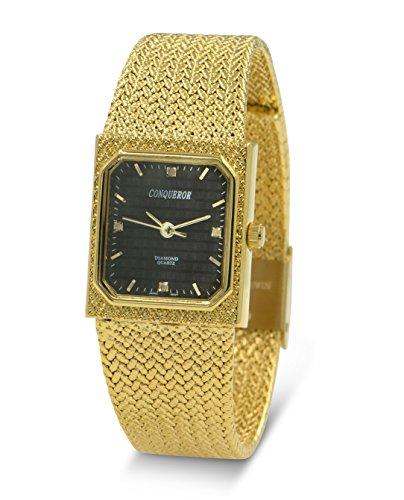 Conqueror Gold-Tone Mesh Bracelet and Diamond Women's Quartz Dress Square Watch