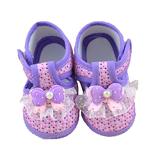 Kids Newborn Cloth Shoes,Buedvo Baby Bowknot Anti-slip Soft Sole Toddler Lace Pearl Decor Shoes (0~3 Month, Purple)