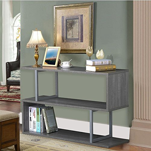 """Topeakmart 3 Tier Wood Narrow Hall Console Accent Table S Shaped Bookcase Display Shelving Unit ( Gray Oak, 45""""L )"""
