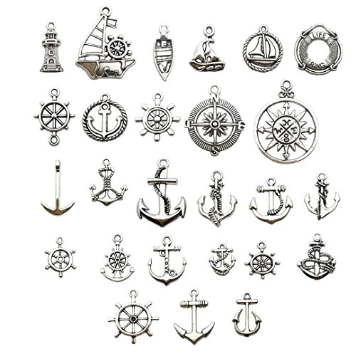 100 Gram (Approx 50pcs) Antique Rudder Anchor Compass Ship Sailboat Lighthouse Charms Pendant Collection - Antique Silver Jewelry Making for Necklace and Bracelet (Silver Great Navigator HM66)