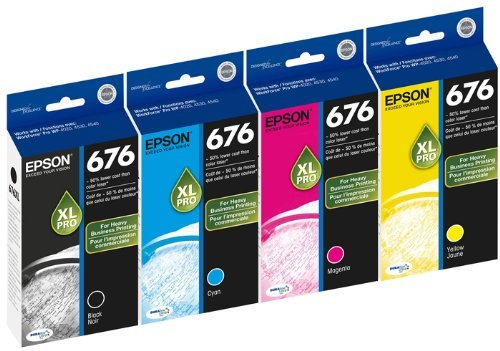 Genuine Epson 676XL DURABrite Ultra Color (Black,Cyan,Magenta,Yellow) Ink Cartridge 4-Pack (Includes 1 each of T676XL120,T676XL220,T676XL320,T676XL420) by Epson