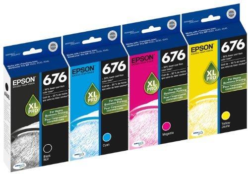 Genuine Epson 676XL DURABrite Ultra Color (Black,Cyan,Magenta,Yellow) Ink Cartridge 4-Pack (Includes 1 each of T676XL120,T676XL220,T676XL320,T676XL420) by - Yellow Genuine Inkjet Epson