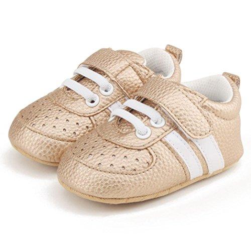 OverDose Unisex-Baby Weiche Warme Sohle Leder/Baumwolle Schuhe Infant Jungen-Mädchen-Kleinkind Schuhe 0-6 Monate 6-12 Monate 12-18 Monate B-A1-Gold-Kunstleder