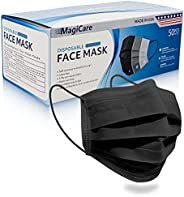 MagiCare Made in USA Masks - Black Face Masks Disposable - Premium 3 Ply Face Mask for Adults - Comfortable, S