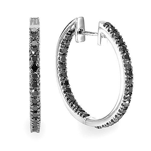 1.25 Carat (ctw) Sterling Silver Black Round Diamond Ladies Hoop Earrings 1 1/4 CT by DazzlingRock Collection