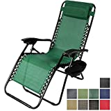 Sunnydaze Forest Green Zero Gravity Lounge Chair with Pillow and Cup Holder For Sale