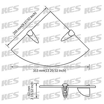KES BGS3100 Lavatory Bathroom Corner Tempered Glass Shelf 8MM-Thick Wall Mount Triangular, Polished Chrome