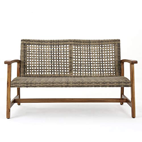 Great Deal Furniture Marcia Outdoor Wood and Wicker Loveseat, Natural Finish with Gray Wicker