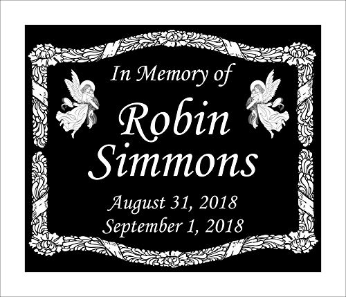 Lazzari Collections Custom Made Infant Memorial 12x10 Inch Engraved Black Granite Grave Marker Headstone Plaque I1