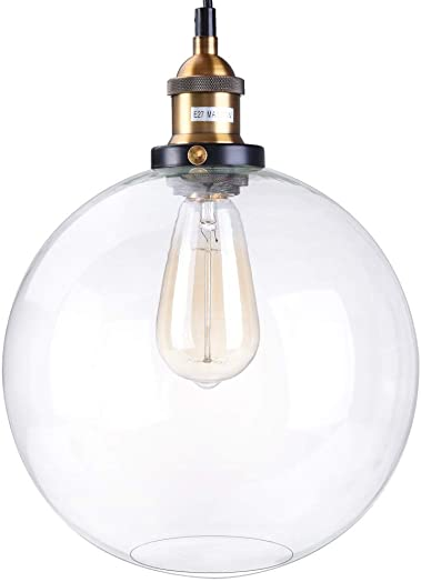 Nesee Industrial Retro Country Style Clear Glass Island Chandelier Clear Cone Glass Shade Four Lights Pendant Light Antique Brass Bronze Finish Ceiling Light Ship from US