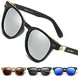 UV-BANS Unisex Round Sunglasses Polarized UV400 Lens with Unbreakable Frame (Black Frame/White Mirror)