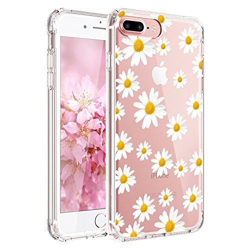 JIAXIUFEN Compatible with iPhone 7 Plus iPhone 8 Plus Case Cute White Little Daisies Clear Slim Shockproof Flower Floral Design Soft Flexible TPU Silicone Back Cover Phone Case
