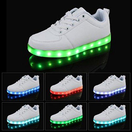 Charge Junglest tm Sneakers Femme Cut Clignotants Couleur Led Lumière Low D Chaussures Usb Blanc Homme Serviette Shoes Light présents petite 7 Lumineux qqgrSwOB