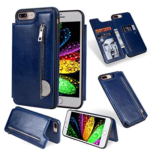 Abtory iPhone 8 Plus Case, Wallet Case with Credit Card Holder Slim Leather Shockproof Protective Hybrid Case with Stand Phone Case for iPhone 7 Plus/iPhone 8 Plus Blue by Abtory (Image #8)