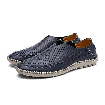 HhGold Zapatos para Hombres Zapatos de Cuero para Primavera/otoño/Mocasines cómodos y Zapatillas sin Cordones/Zapatos con Orificios/Zapatos para ...
