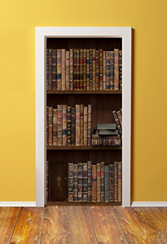 Windowpix DoorPix 36x80 / 36 x 80 3D Door Mural Wrap Glossy Bubble Free Sticker Antique First Edition Volume Novels - Peel and Stick - Easy-to-Clean, Durable