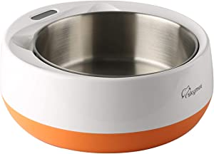 SKYMEE Stainless Steel Weighing Pet Bowl, LCD Digital Kitchen Food Scale of Grams/LB/OZ/ML Removable Bowl for Dog Cat, Large