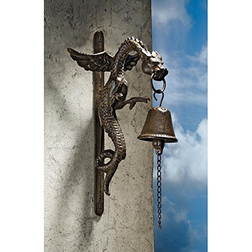 Bronze Garden Bell (Design Toscano Florentine Dragon Gothic Decor Hanging Bell Wall Sculpture, 12 Inch, Cast Iron, Bronze Finish)