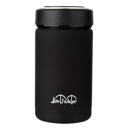 Justfwater - termo de vacío de acero inoxidable, para café, con aislamiento térmico y colador de té, 360 ml - negro