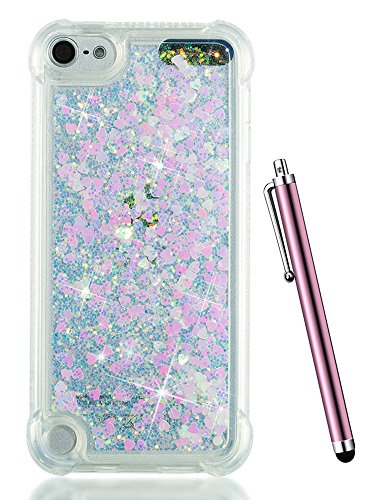 iPod 6 Cases for Girls, iPod Touch 6th Generation Case,CAIYUNL Glitter Liquid Clear Cute Bling Sparkly TPU Kids Women Soft Protective Cover Design for Apple iPod Touch 5th Generation+Stylus-Baby Pink