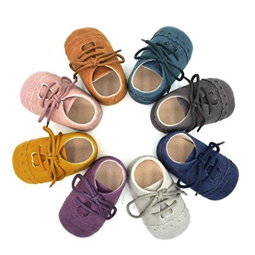 Upxiang Baby Krippe Schuhe Kleinkind Schuhe Sneaker Anti-Rutsch Weiche Sohle Lace Up Schuhe Babyschuhe Gelb