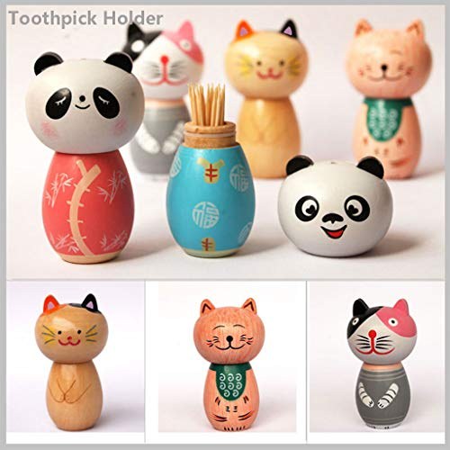 Yu2d Japanese-Style Wooden Storage Decoration Decorative Cartoon Toothpick Holder(E)]()