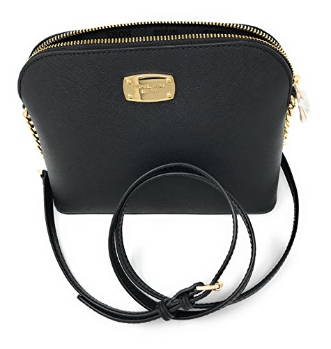 Michael Kors Cindy Large Dome Leather Crossbody (Black) by Michael Kors