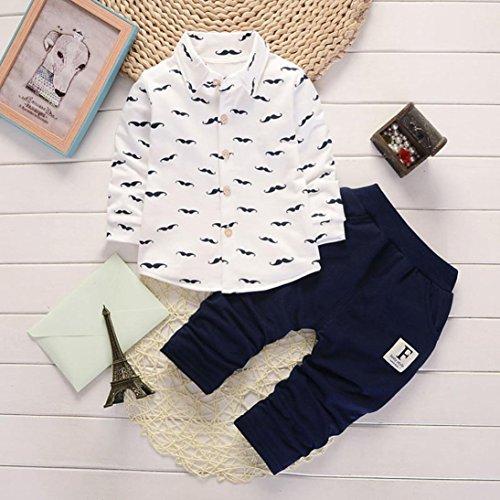 Omiky® 2pcs Kleinkind-Säuglingsbaby-Jungen-Buchstabe-Kleidung stellte Tops + Pants Outfits ein Weiß