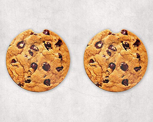 Chocolate Chip Cookies Car Coaster Cup Holder 2 pcs Set Handmade Automobile Accessory - Coaster Chocolate