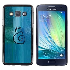 FlareStar Colour Printing Cat Minimalist Blue Watercolor Art cáscara Funda Case Caso de plástico para Samsung Galaxy A3 / SM-A300