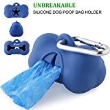 #5: Roysili Soft Silicone Dog Poop Bag Dispenser Leak-Proof Dog Waste Bag Holder Waterproof Dog Poop Bag Holder for Leash (Dark Blue)