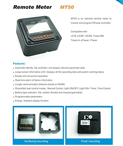EPEVER MT50 Fernzähler neue Version für die Überwachung und Einstellung der Parameter des MPPT Solarladereglers