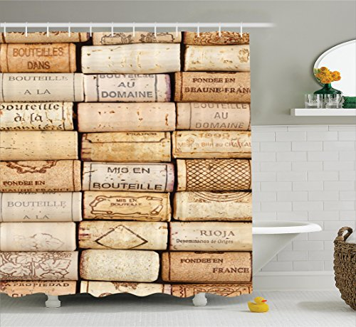 Ambesonne Winery Decor Collection Different Wine Corks Arranged In A Line Collections French Aged Fine Wine Art Polyester Fabric Bathroom Shower Curtain
