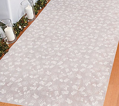 100 ft Rose Print Wedding Aisle Runner Long White Flower Printed Floral Bridal ()